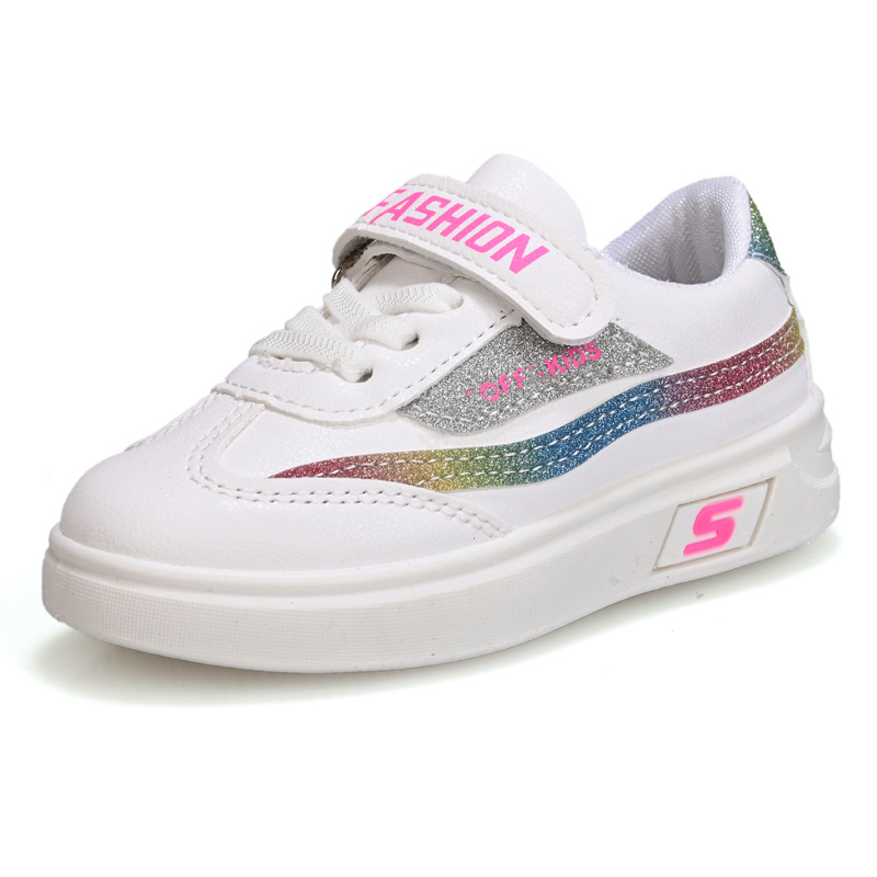 Children Girls Shoes Flats Casual Kids Student Shoe Boys Sneakers Fashion Rainbow Stripes Hook & Loop Mix Colors Letters Sports