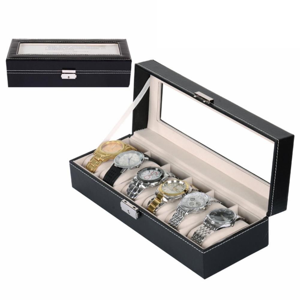 6 Grid Slots Soft Sponge Watch Box Dust-proof Wrist Watch Organizer Container Case Watch Display Storage Box Jewelry Organizer