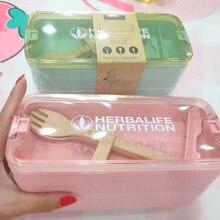 Herbalife 900ml material saudável lancheira 3 camadas trigo palha bento caixas microondas louça recipiente de armazenamento de alimentos lancheira