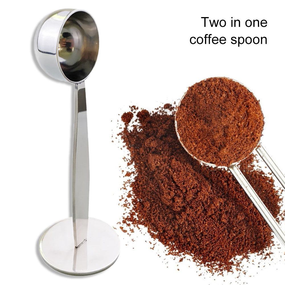 2 in 1 Coffee beans Spoon Coffe Measuring Tamping Scoop Coffee Tamper Black Espresso Stand Kitchen Bar Coffee Tea Tools
