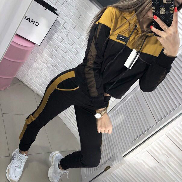 Europe And America Hot Selling 2019 Hot Sales Autumn WOMEN'S Dress Even Gauze Joint Slim Fit Hoodie Suit Two-Piece Women's