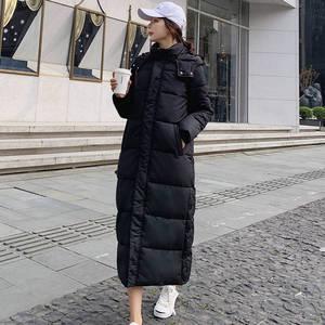 Image 3 - Kobiet dół bawełny kurtka zimowa płaszcz Super długie parki z kapturem studenci luźne kobiet kurtka ciepłe kurtki zimowe płaszcze C5872
