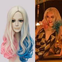 Jewelry Wig Fashion Suicide Squad Harley Quinn Gradient Curly Cosplay Costume Halloween Wig Free Shipping(China)
