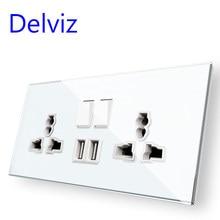 Delviz – prise USB murale en verre trempé, panneau en cristal blanc standard ue, commandes de commutateur à double prises, 16A