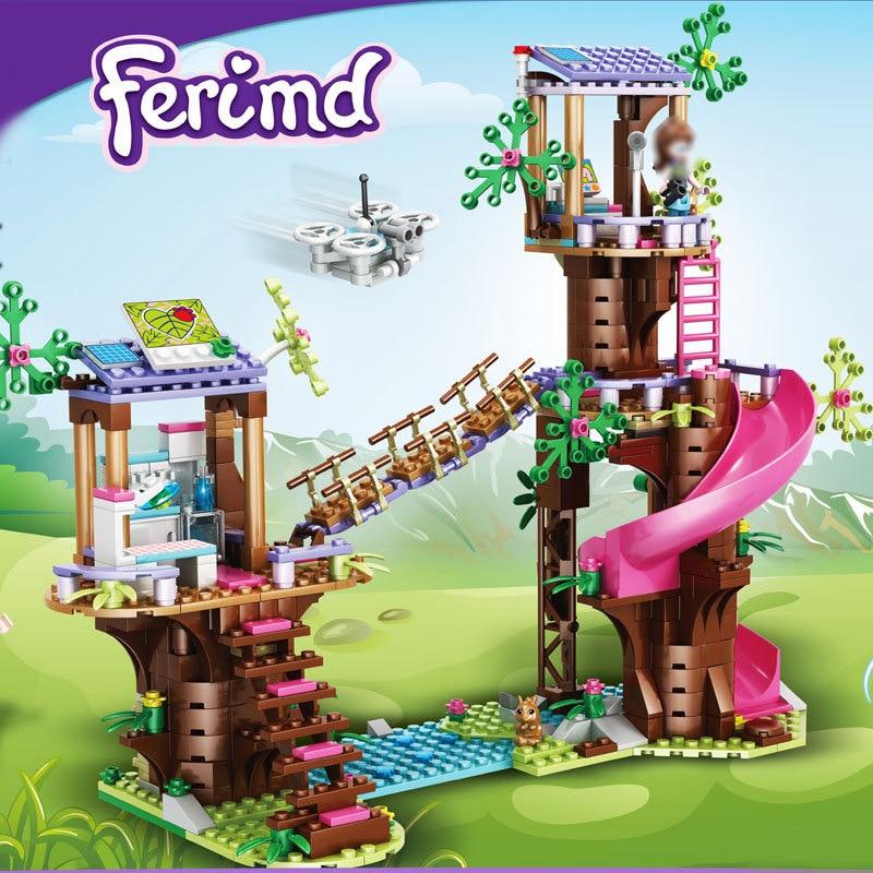 Строительные блоки «Джунгли», база для строительства, горка, парк развлечений, игрушки, экшн-фигурки, модель для девочек, рождественские под...