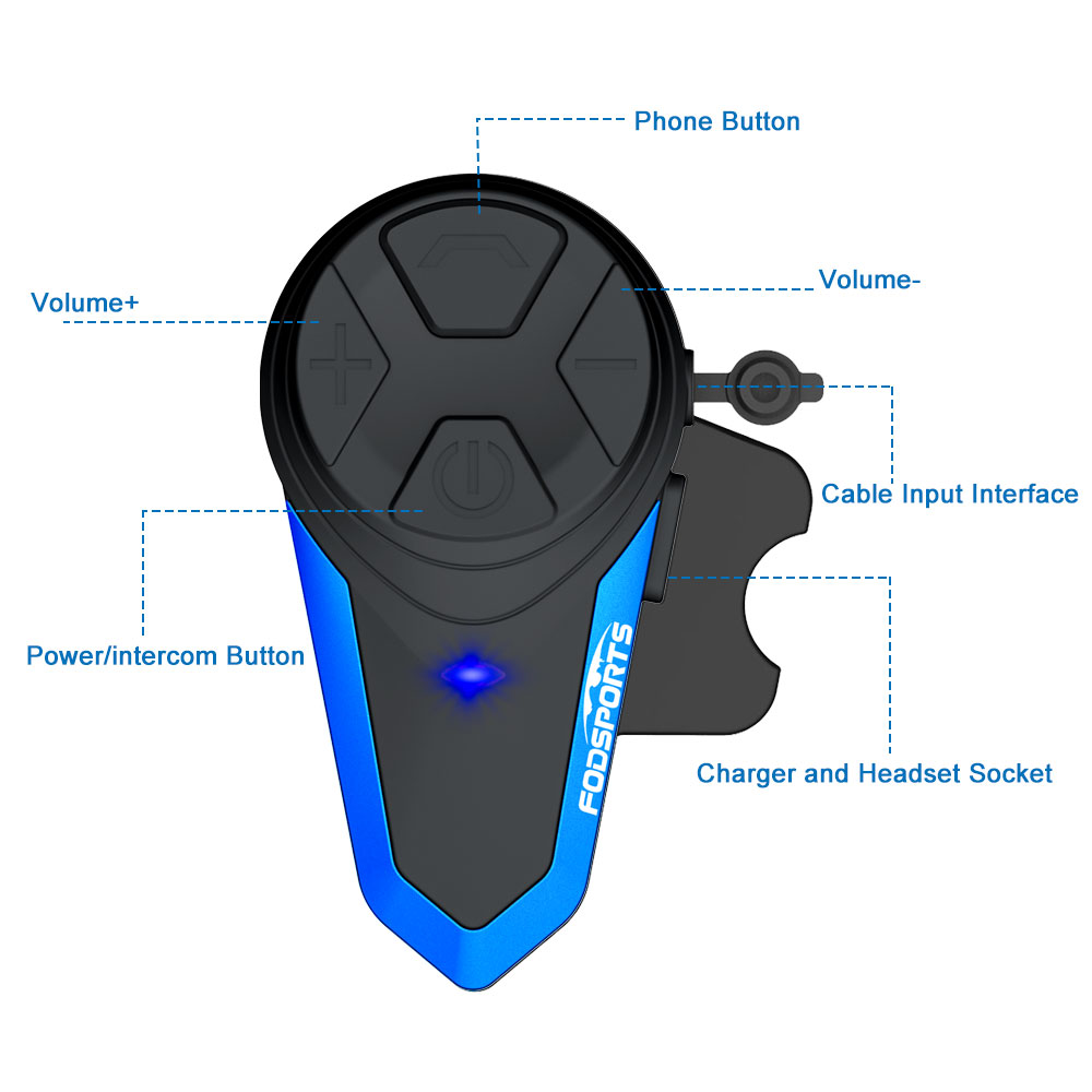 Fodsports BT-S3 Motorrad Helm Intercom Drahtlose Bluetooth Headset Wasserdichte BT Multi Sprech Intercomunicador Moto FM
