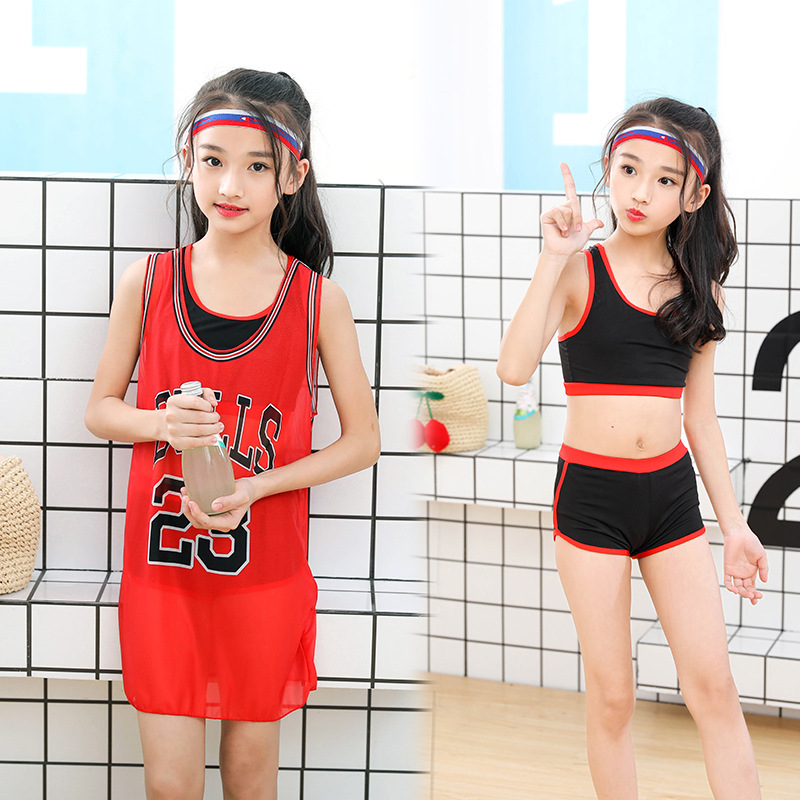New Style Children Two-piece Swimsuits Athletic Vest Comfortable Girls Children Tour Bathing Suit Basketball Clothes-Shape Swimw