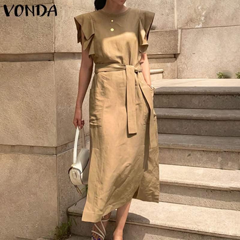 Bohemian Dress Women Casual Loose Sleeveless Ruffle Maxi Long Dress With Belt VONDA 2020 Summer Sundress Party Vestido Plus Size