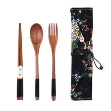 Portable Wood Tableware Wooden Cutlery Sets Travel Dinnerware Suit Environmental with Cloth Pack Gifts set