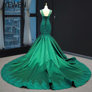 Image 3 - Green long Mermaid dresses evening 2020 O Neck formal dress women elegant evening party gown vestidos de fiesta talla grande