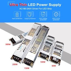 Image 2 - אולטרה דק LED אספקת חשמל DC 12V 24V 60W 100W 150W 200W 300W שנאי תאורת AC 190 240V LED נהג LED רצועת מעבדה