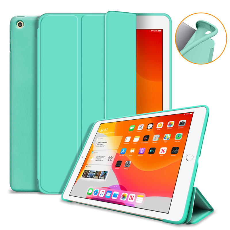 Mint green Yellow Silicone Cover Case For iPad 10 2 Case For iPad 8th 7th Generation Cover For Model