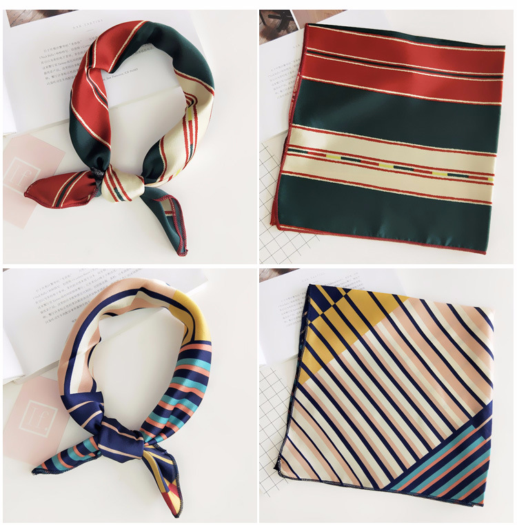 H8f55acbea5f84eac83b5bae17c5e34aaK - Square Scarf Hair Tie Band For Business Party Women Elegant Small Vintage Skinny Retro Head Neck Silk Satin Scarf