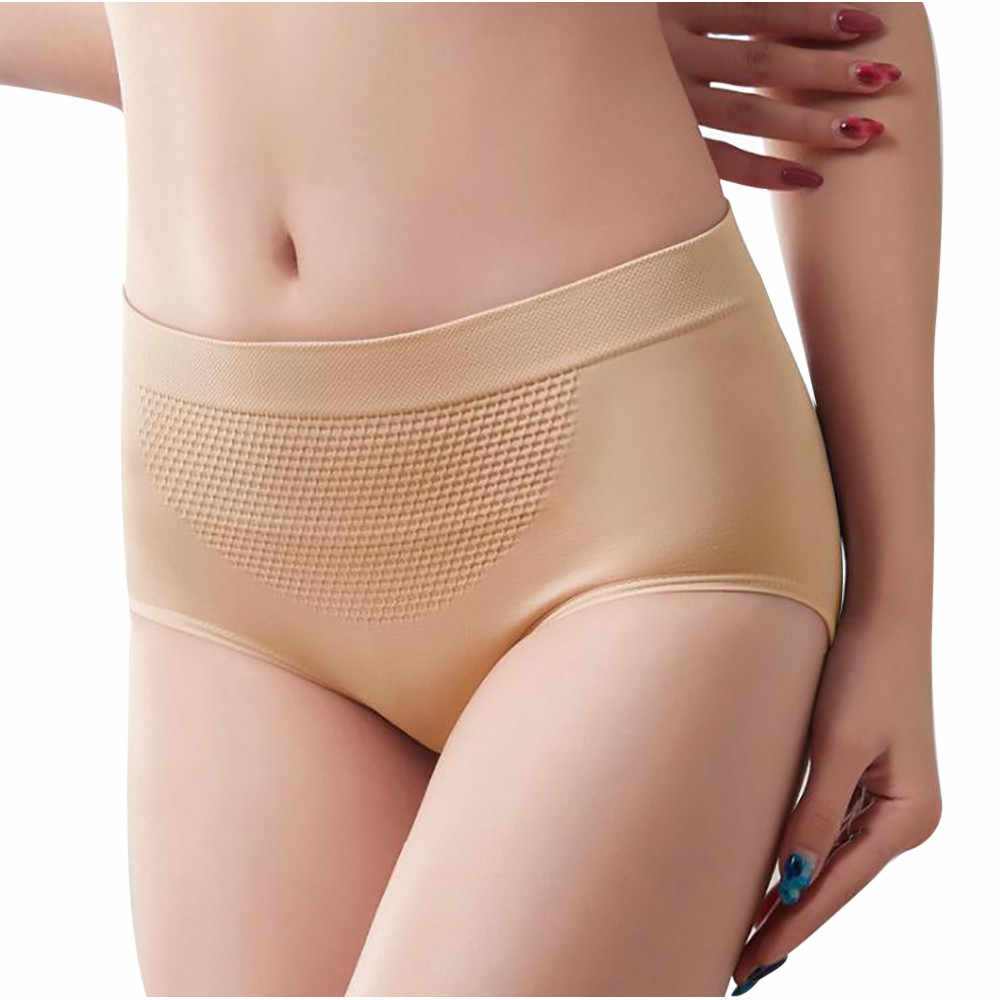 Women Underpants Autumn And Winter Honeycomb Seamless Warm Court Large Size Belly Women Underwear Nylon Solid Briefs#20