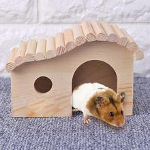 House Hamster Cottage-Cage Pet-Supplie Sleeping-Bed Wooden Small Animal for Assembling