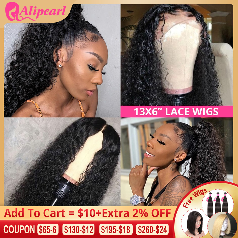 Water Wave 13x6 Lace Front Human Hair Wigs For Black Women Ple Plucked 130% 180% Density Remy Brazilian AliPearl Hair Lace Wigs