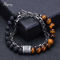 HIYONG Lava Rock Beaded Bracelet for Men Natural Tiger Eye Stone Bracelet Stainless Steel Chain Bracelets Male Jewelry Gifts