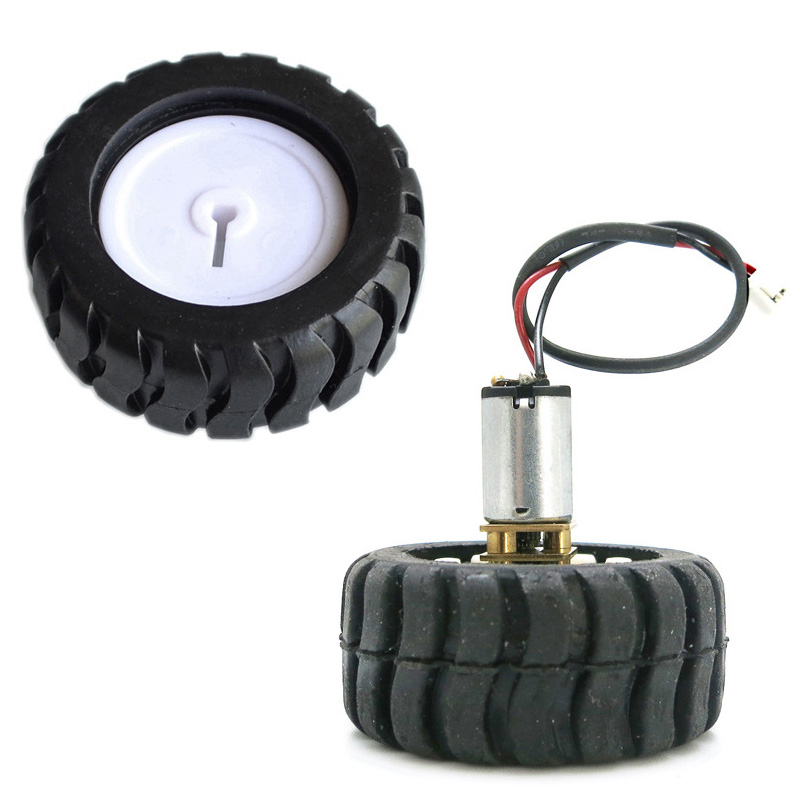 4PCS Four-Wheel Drive Car D-Axis Rubber Tires <font><b>N20</b></font> <font><b>Metal</b></font> <font><b>Gear</b></font> Motor DC Motors Robot Accessories Tracking Car For <font><b>N20</b></font> Motor image