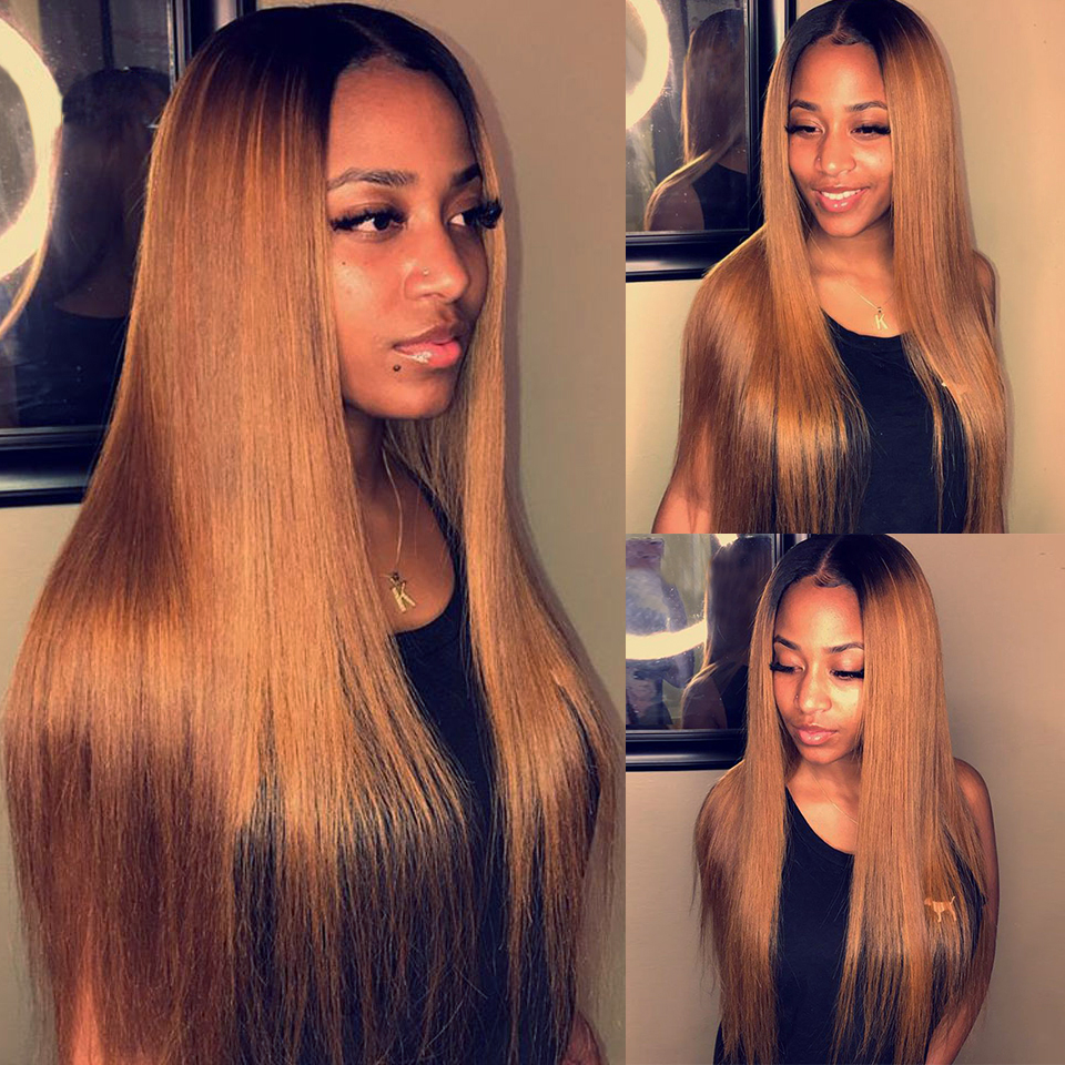 Honey-Blonde-Lace-Front-Human-Hair-Wigs-Ombre-T4-27-Pre-Plucked-Straight-Brazilian-Remy-Hair