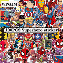 NEW 100Pcs/Lot Marvel Anime Classic Stickers Toy for Laptop Skateboard Luggage Decal Waterproof Funny Spiderman Kid