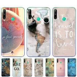 На Алиэкспресс купить чехол для смартфона silicon phone cover case for huawei p40 lite e p40 pro cover for huawei y7p y5p y6s y9s nova 5t coque world map travel plans