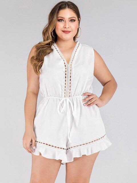 2020 fashion summer plus size jumpsuit for women large sleeveless loose casual V neck short jumpsuits belt white 3XL 4XL 5XL 6XL 3