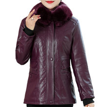 Women Winter Leather Jackets Red Purple Black Thick Wool Fabric Liner Faux Coats Female Thicken Warm Outerwear Plus Size