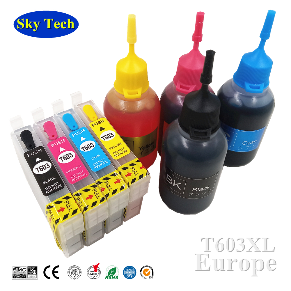 T603XL T603 603 Refillable Cartridge With ARC , For <font><b>Epson</b></font> <font><b>XP</b></font>-<font><b>2100</b></font> <font><b>XP</b></font>-2105 <font><b>XP</b></font>-3100 <font><b>XP</b></font>-3105 <font><b>XP</b></font>-4100 <font><b>XP</b></font>-4105 WF-2810 WF-2850 image