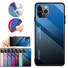 5pcs Gradient Tempered Glass Phone Case Back Cover For Iphone 11 pro max xs xr