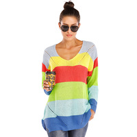 Autumn Winter Knit Pullover Tops Winter Sweater Women Clothes Striped Rainbow Woman Sweater European Style