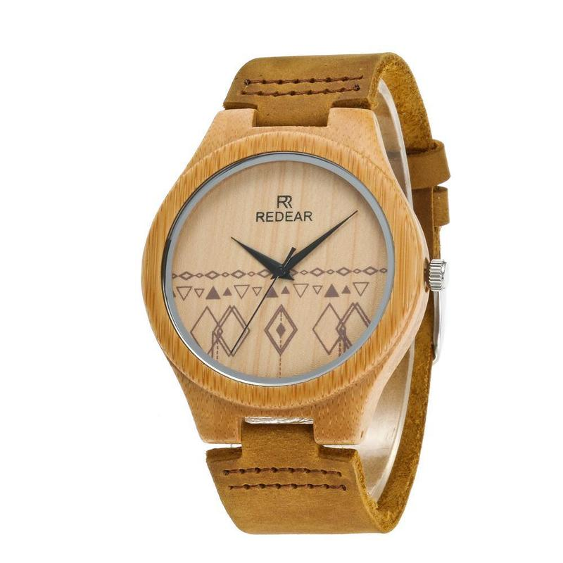 2019 The New Leisure Fashion Wood Table Top Grade Leather Manufacturers Selling Quartz Watches Lovers Wooden