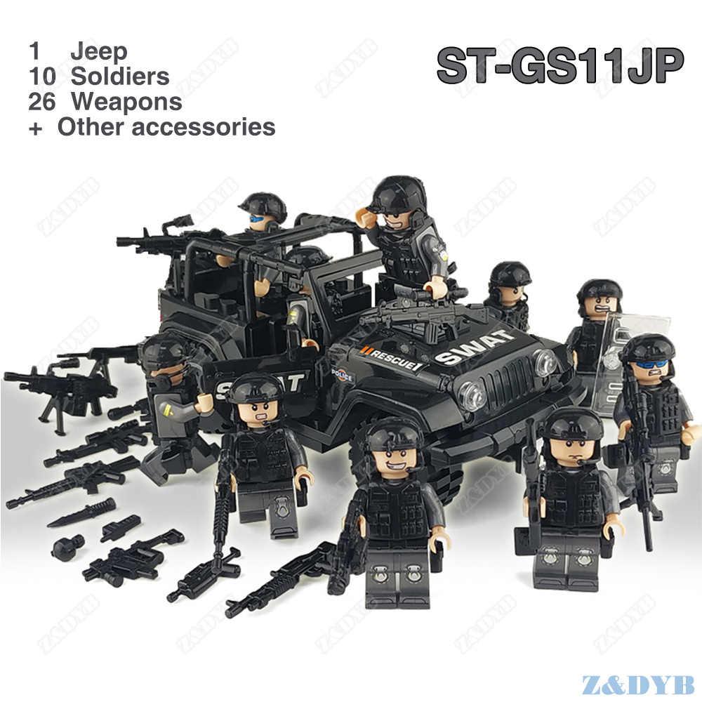 56 قطعة من جنود مشاة البحرية ، مجموعة القوات العسكرية ، شخصيات الجيش ، بندقية سلاح SWAT ، لبنة بناء ، لبنة لعب legoed للأطفال