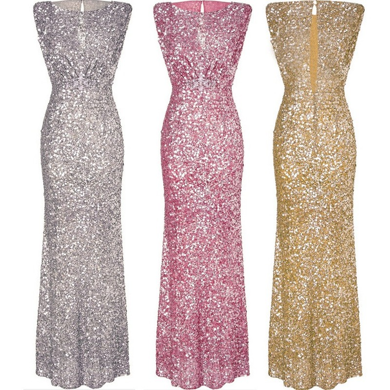 Evening Gowns for Women  Sexy Sleeveless Sequin Evening Dress Long Slim Backless Evening Dress Vestidos De Fiesta De Noche