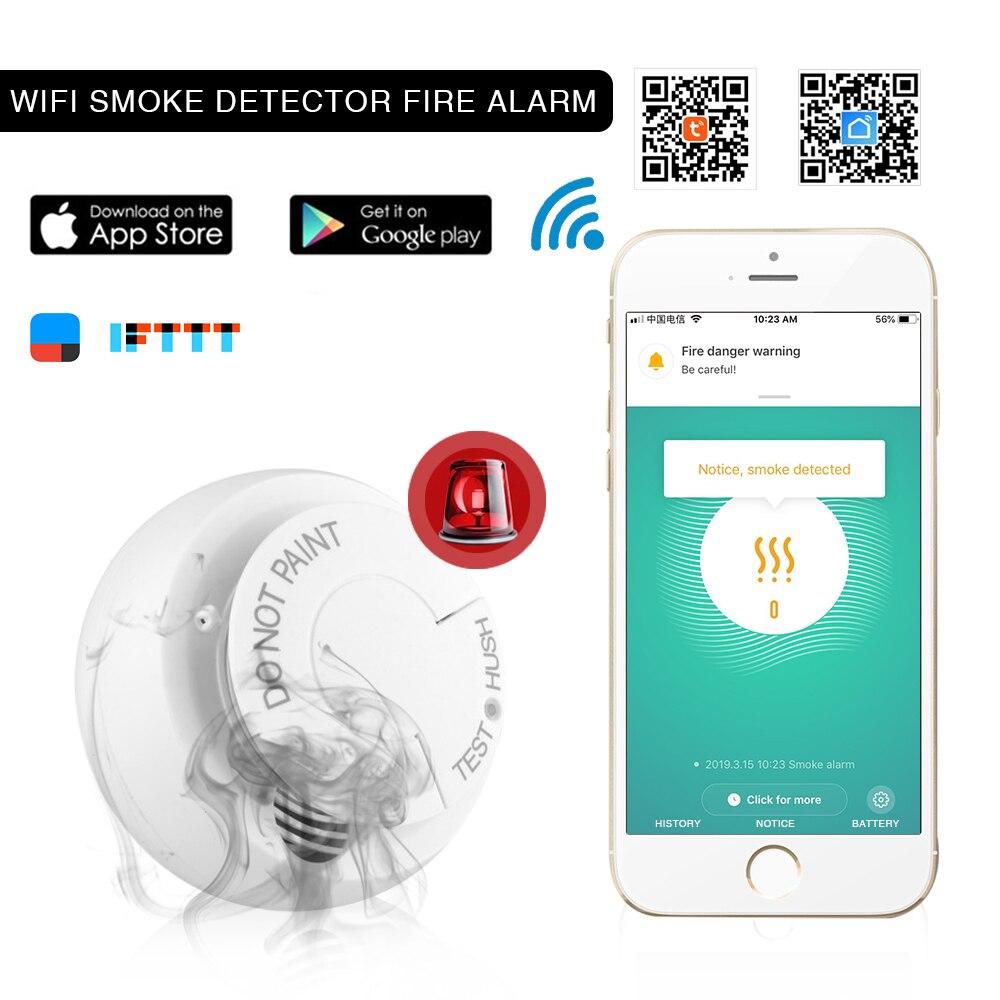 Tuya Vida Inteligente WIFI Inteligente detector de Fumaça sensor de Fumaça sensor de alarme De proteção contra Incêndio independente com vida inteligente de bateria sem fio