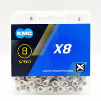KMC X8 Silver Bicycle Shift Chain 116 Links 1/2'*3/32 8 Speed CL573R Chain for Road/Mountain Bike MTB