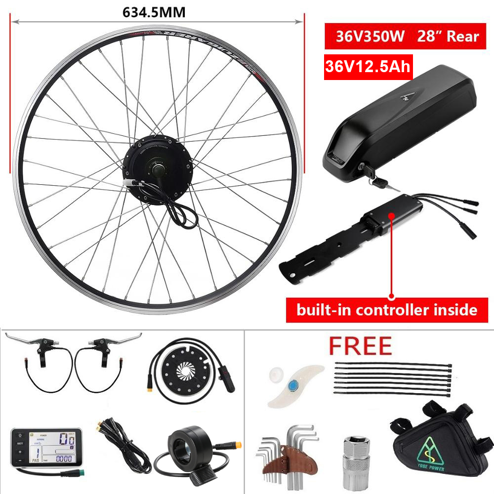 Rear Electric Bike Kit with Battery 12.5Ah 36V 350W 28'' Cassette Brushless Hub Motor Wheel for Bicycle E bike Conversion Kit