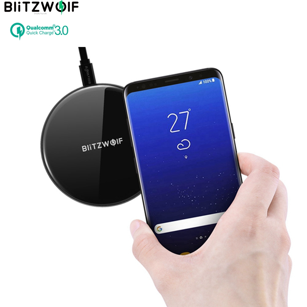BlitzWolf QI Wireless Charger Fast Desktop US EU Mobile Phone Charger 5W 7.5W 10W Fast Charging Pad For iPhone X For Samsung