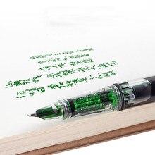 2021 nova correção de postura pistão caneta fonte plástico transparente cor tinta branca com capuz dobrar nib escola escritório
