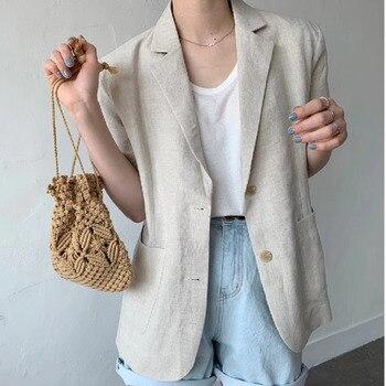 [EWQ] Minimalism Women Black Casual Linen Blazer New Notched Short Sleeve Loose Fit Jacket Fashion Tide Spring Summer 2021 F0485 1