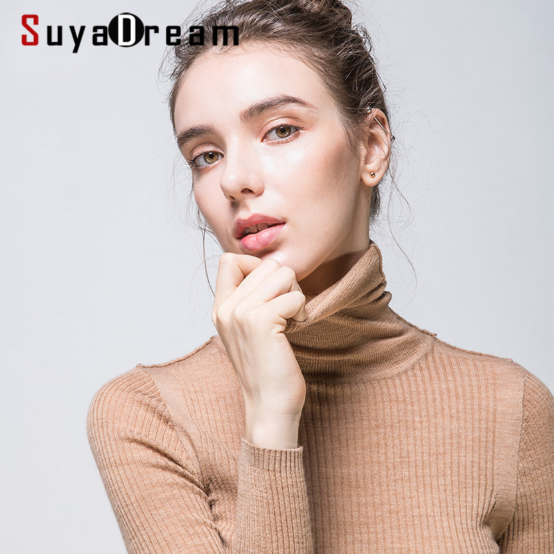 Women Wool Pullover 100%Merino Wool Sweater For Women Turtleneck Rib Knits 2019 Fall Winter Sweaters Bottoming Knitwear