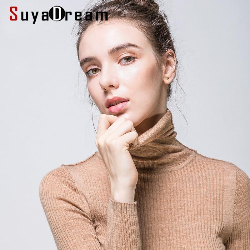 Women Wool Pullover 100%Merino Wool Sweater For Women Turtleneck  Rib Knits 2019 Fall Winter Sweaters Bottoming KnitwearPullovers   -