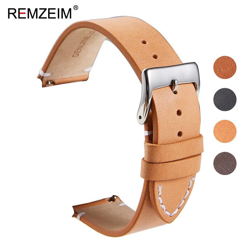 Remzeim calfskin pulseira de couro liberação rápida relógio banda 16mm 18mm 20mm 22mm 24mm pulseira relógio inteligente relógios acessórios