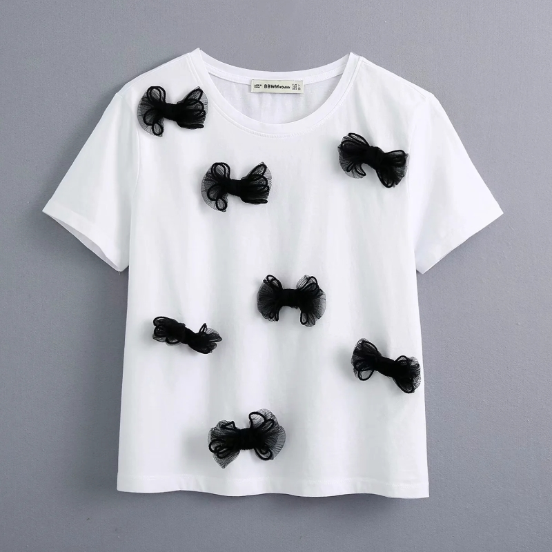 2020 Women Fashion Black Bow Patch Casual White Knitted T-shirt Female O Neck Short Sleeve Basic Chic T Shirt Leisure Tops