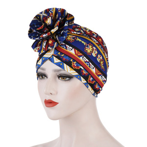 Image 1 - Helisopus Cotton Ladies Printed Headbands Chemo Cap Elastic Headscarf Women Muslim Turban Beanies Hair Accessories