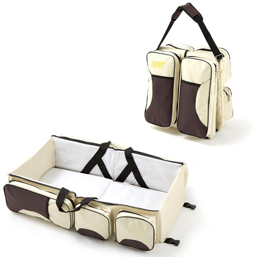Portable Foldable Diaper Nappy Bag Baby Crib Bed Travel Mummy Shoulder Pouch Easy To Use  Durable Oxford Cloth Water-resistant