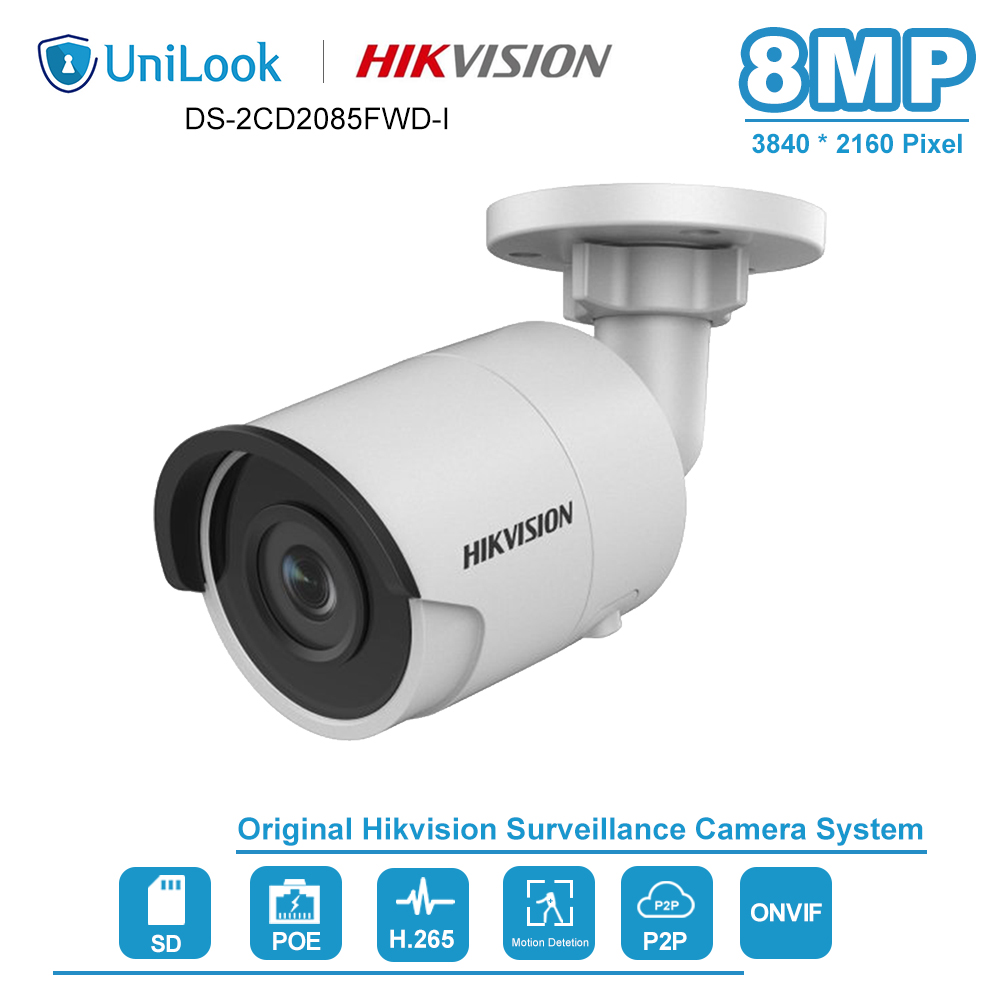 Hikvision 8MP(4K) Bullet POE IP Camera Outdoor Weatherproof IP.67 CCTV Security Surveillance Night Vision IR30m DS-2CD2085FWD-I