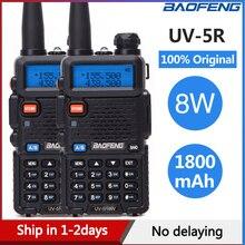 2 قطعة Baofeng UV 5R اسلكية تخاطب UV5R CB محطة راديو 8 واط 10 كجم VHF UHF المزدوج الفرقة UV 5R اتجاهين راديو للصيد لحم الخنزير الراديو