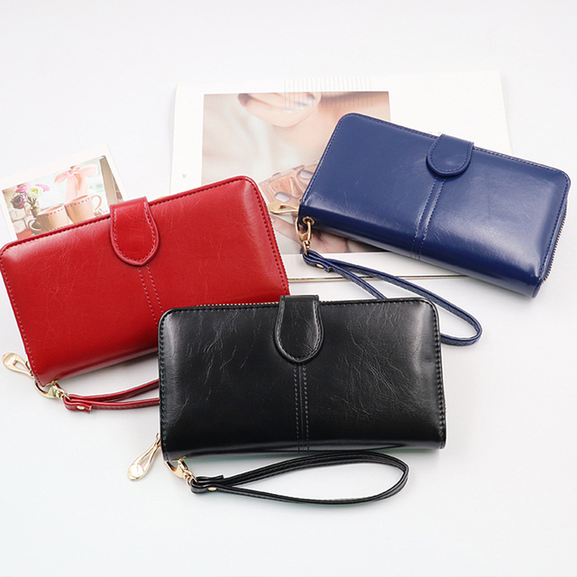 Women's Wallet For Credit Card Female Purse Fashion Brand Luxury Long Trifold Coin Purse Leather Lady Solid Purse Women Wallets