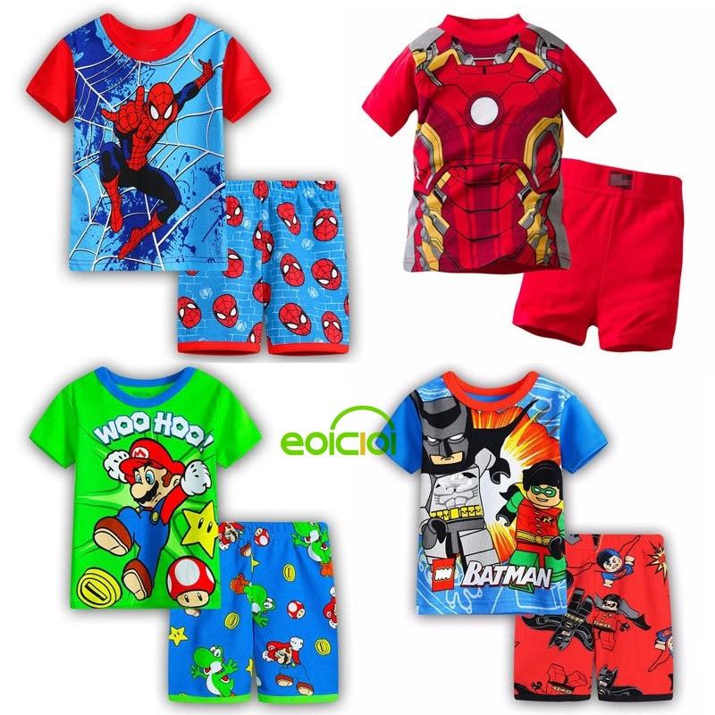 Girls Pyjamas Set Clothes-Sets Short-Sleeve Spiderman Batman Iron-Man Kids Cotton Summer