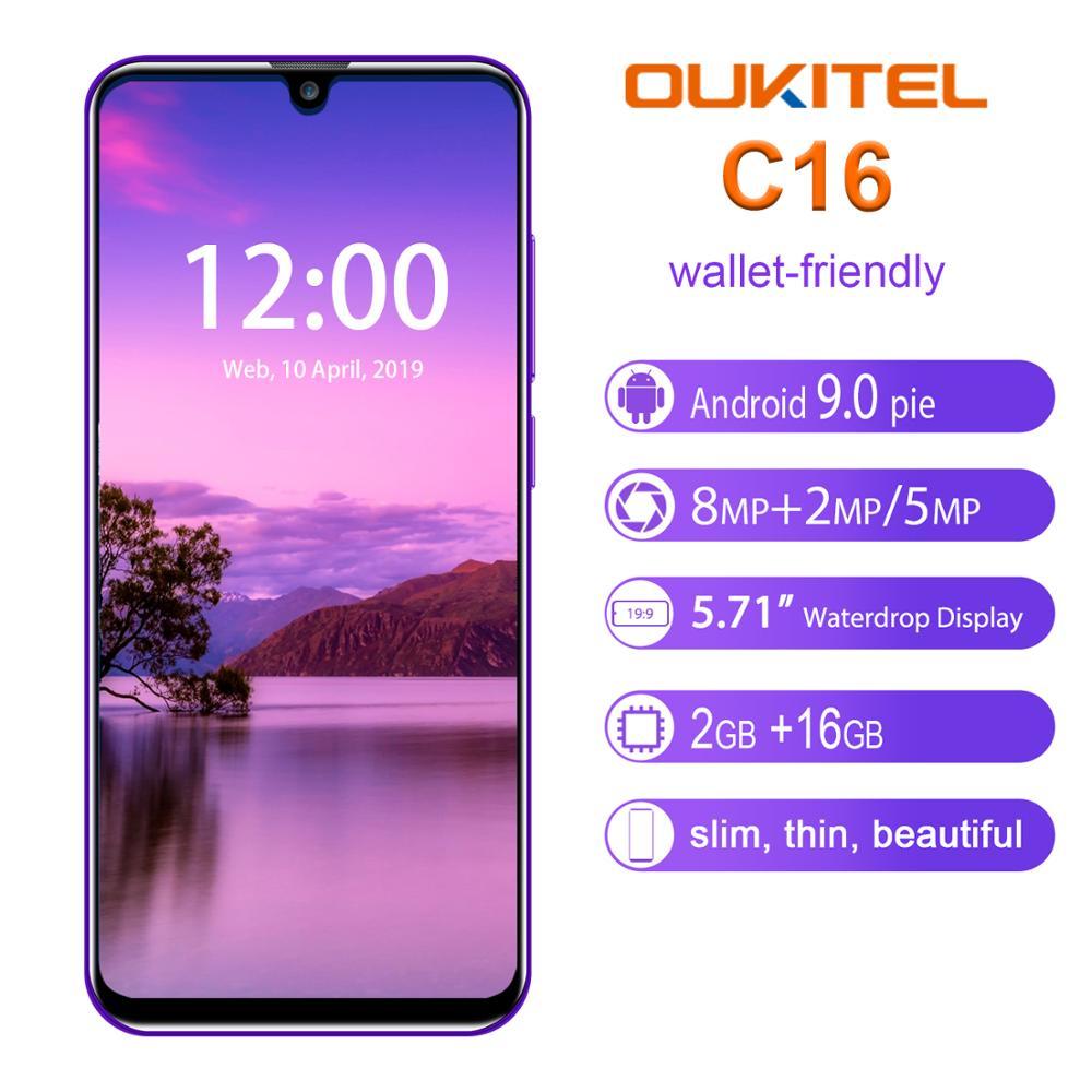 מדיחי כלים OUKITEL C16 Smartphone 5.71 אינץ Quad Core 2G RAM 16G ROM נייד 2600mAh Dual מצלמה נעילת אנדרואיד 9.0 טלפון נייד (2)